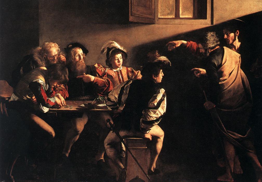 De roeping van Matteüs door Caravaggio.