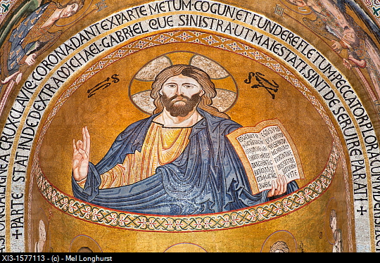 Jesus Christ mosaic in the apse, Cappella Palatina, Palazzo dei Normanni, Palermo, Sicily, Italy